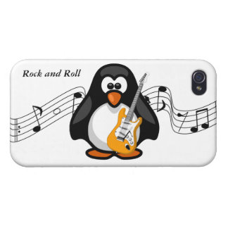 Paddy Penguin Rock and Roll Music Guitar Player Case For iPhone 4