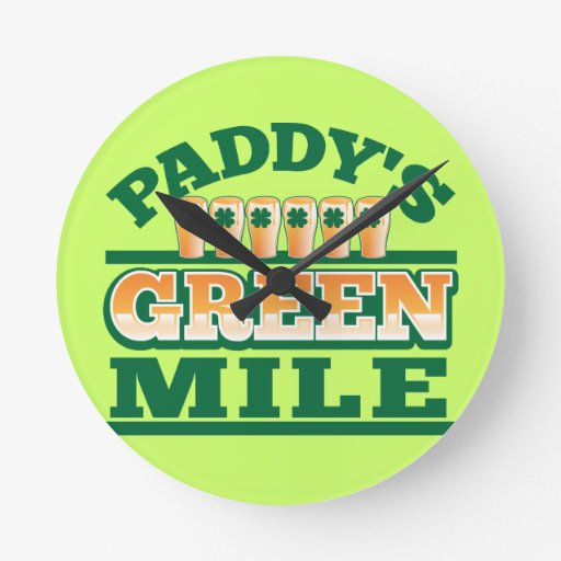 Paddy's GREEN MILE from The Beer Shop Round Wallclocks