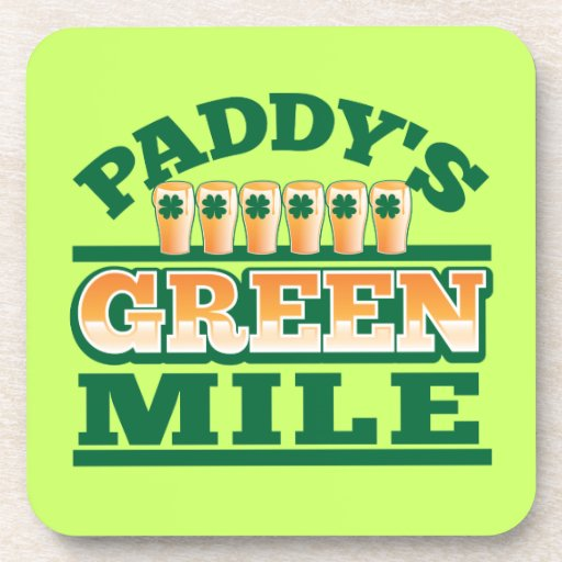 Paddy's GREEN MILE from The Beer Shop Beverage Coaster
