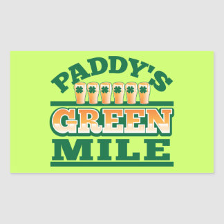 Paddy's GREEN MILE from The Beer Shop Rectangular Sticker