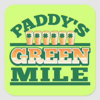 Paddy's GREEN MILE from The Beer Shop Square Stickers