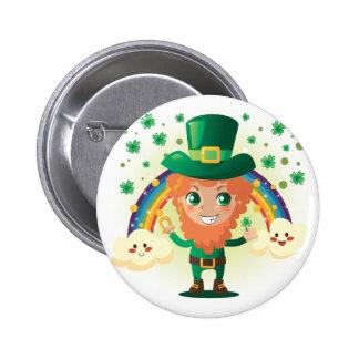 Paddy's Leprechaun 6 Cm Round Badge