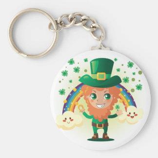 Paddy's Leprechaun Basic Round Button Key Ring