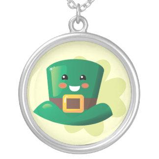 Paddy's Leprechaun Round Pendant Necklace