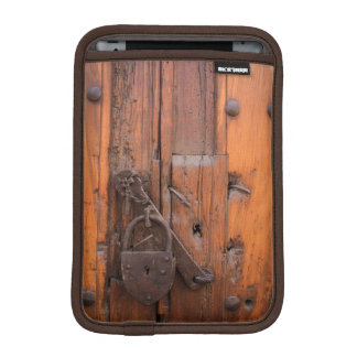 Padlock on wooden door iPad mini sleeve