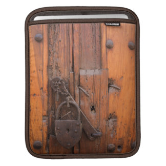 Padlock on wooden door iPad sleeve