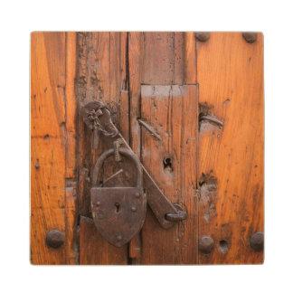 Padlock on wooden door wood coaster