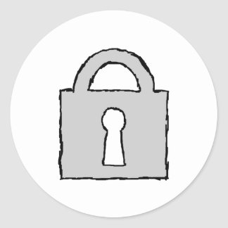 Padlock. Top Secret or Confidential Icon. Round Sticker