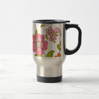 padrão com flores stainless steel travel mug