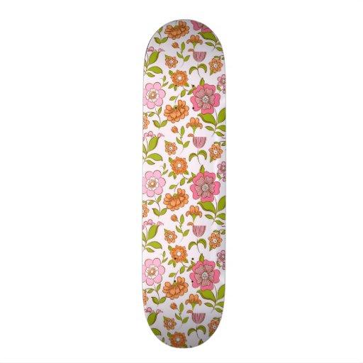 padrão com flores skateboard deck