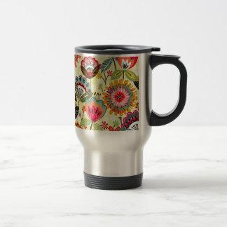 padrão com ramos de flores stainless steel travel mug