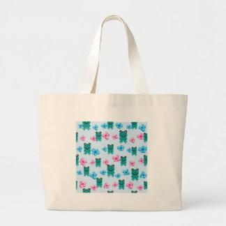 padrão com sapos e flores tote bag