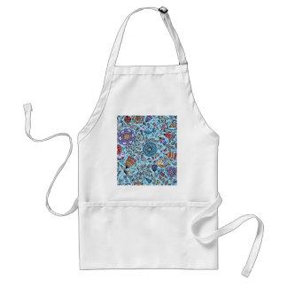 padrão de flores e passaros avental