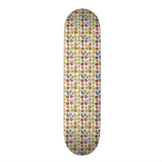 padrão divertido flores e passaros skateboard decks