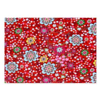 padrão floral em fundo vermelho business card templates