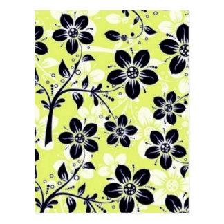 padrão flores pretas postcard