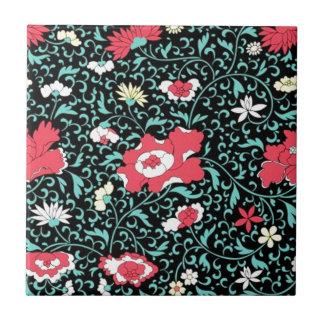padrão flores vermelhas ceramic tiles