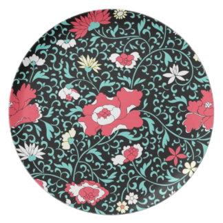 padrão flores vermelhas party plate