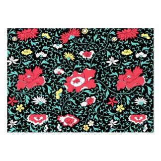 padrão florido em fundo escuro business cards