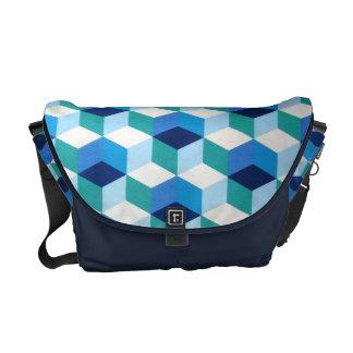 padrão geometrico azul messenger bag