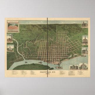 Paducah Kentucky 1889 Antique Panoramic Map Poster