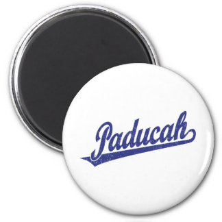 Paducah script logo in blue distressed 6 cm round magnet