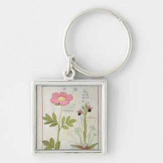 Paeonia or Peony, and Orchis myanthos Key Ring