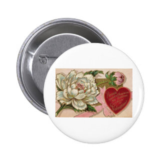 Paeonia Symbol of Happiness Pinback Button