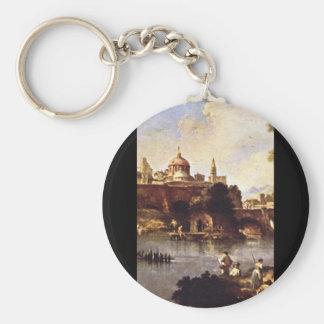 Paesaggio di Fantasia', Giuseppe Zais_Landscapes Basic Round Button Key Ring