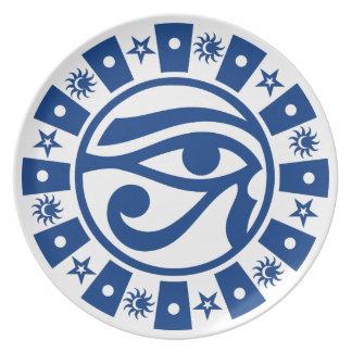 Pagan Ancient Egyptian Eye of Horus Occult Symbol Dinner Plates