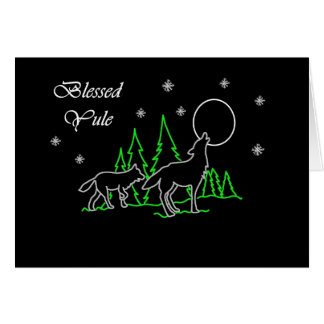 Pagan Blessed Yule with Wolves and Moon Greeting Card