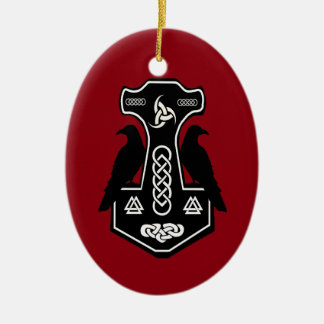 Pagan Celtic Thor's Hammer with Ravens Christmas Ornament