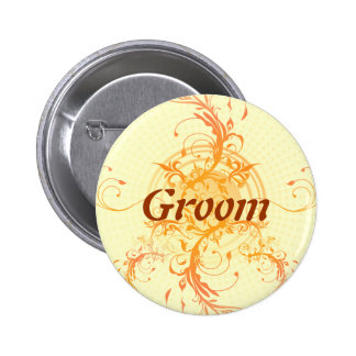Pagan Floral Sun Handfasting Groom's Badge 2 Inch Round Button