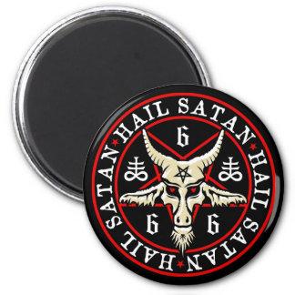 Pagan Hail Satan Baphomet Goat in Pentagram 6 Cm Round Magnet