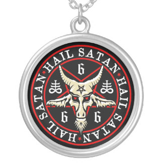 Pagan Hail Satan Baphomet Goat in Pentagram Round Pendant Necklace