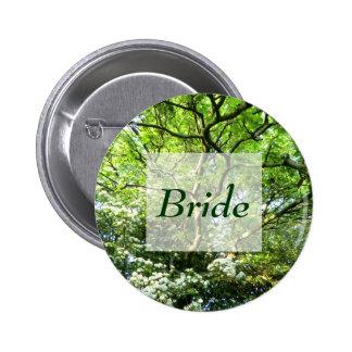 Pagan Hawthorn & Oak Handfasting Bride's Badge 2 Inch Round Button