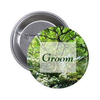 Pagan Hawthorn & Oak Handfasting Groom's Badge 2 Inch Round Button