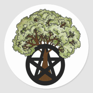 Pagan Pentacle Tree Classic Round Sticker