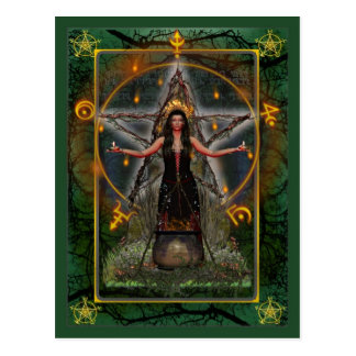 Pagan Postcard - Spellweaver Witch 'Green ~ Earth'