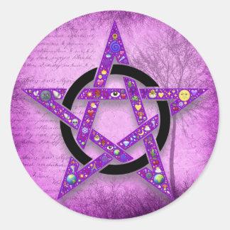 Pagan Wicca Pentagram Star Purple Classic Round Sticker