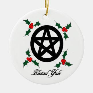 Pagan Yule Ornament with Pentacle and Mistletoe
