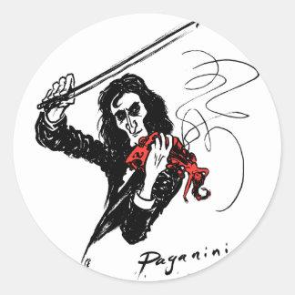Paganini color3 b&w&red 300dpi round sticker