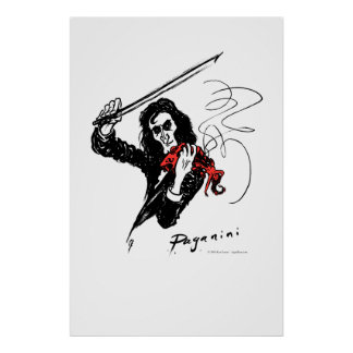 Paganini playing red violin poster