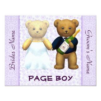 Page Boy - Teddy Bears lilac Wedding Invite