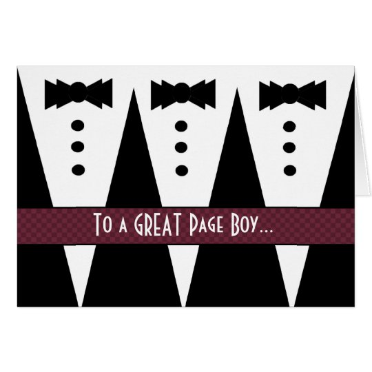 PAGE BOY Thank You - Three Tuxedos Card