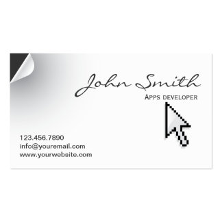 Page Curl Apps developer Business Card