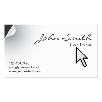 Page Curl Stock Broker Business Card