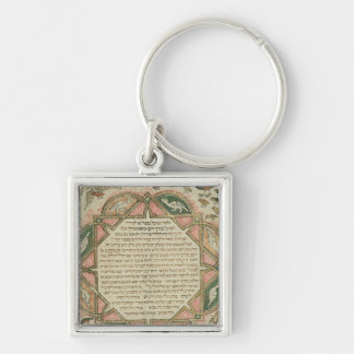 Page from a Hebrew Bible depicting Silver-Colored Square Key Ring