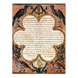 Page from a Hebrew Bible with birds, 1299 Post Card