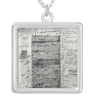 Page from one of Balzac's works Silver Plated Necklace